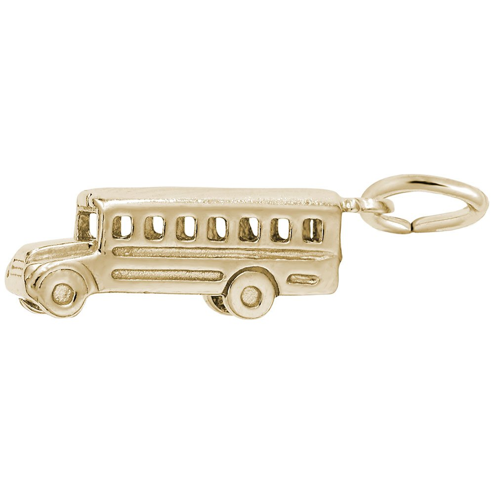 10k Yellow Gold School Bus Charm, Charms for Bracelets and Necklaces