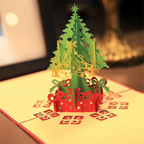 MEXUD-Merry Christmas Tree 3D Pop Up Paper Handmade Greeting Card for Xmas Christmas - Size Card Average A Of