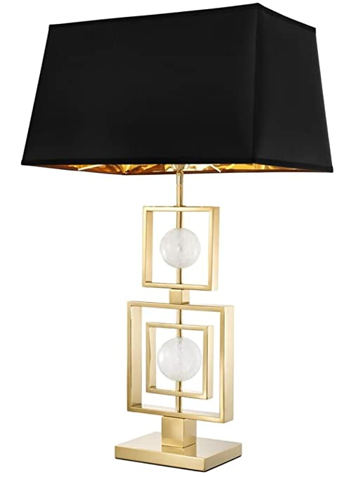 Casa-Padrino lámpara de Mesa con Cristal de Roca Oro/Negro ...