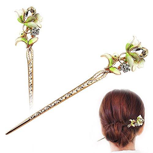 STAR-TOP Chinese Hair Chopsticks Hair Decor flower and Ginkgo biloba Hair Pins Hair Clip Metal Hair Stick with Jewelly Box