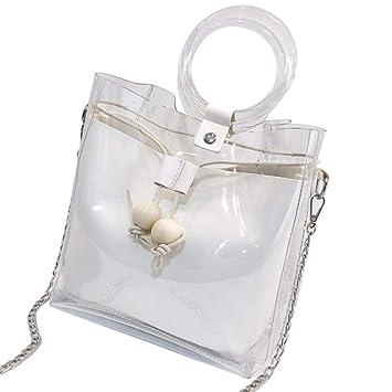 Damen PVC Transparent Handtasche Sommer Strand Umhängetasche Schultertasche