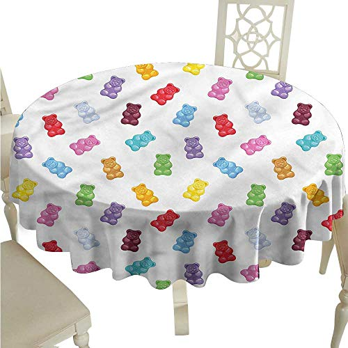 ScottDecor Outdoor Picnics Kids,Vibrant Sweet Gummy Bears Jacquard Tablecloth Round Tablecloth D 54