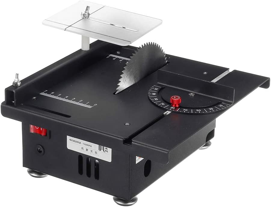 BENPAO Mini Sierra de Mesa Hobby con inglete, 7200 RPM multifunción Ajustable para Manualidades de Madera Hechas a Mano, Corte de Placa de Circuito Impreso