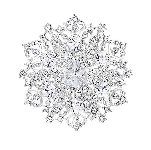 EVER FAITH Austrian Crystal Elegant Winter Snowflake Bridal Corsage Brooch Pin Clear Clear Austrian Crystals Pin