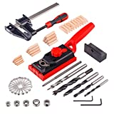 NoCry Pocket Hole Jig System - 2-in-1 Jig and Dowel Tool Kit with 78 Accessories, Including F-Clamp, Drill Bits, Screws, Dowel Plugs & Carrying Case