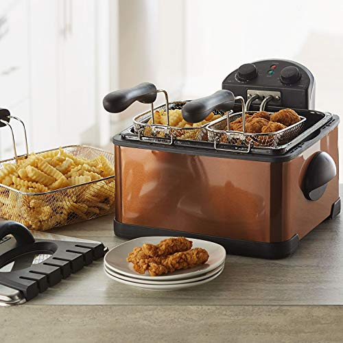 BrylaneHome Triple Basket Deep Fryer 4.2 Quart Capacity, Copper