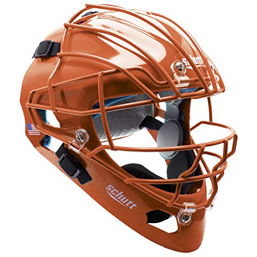Schutt AiR MAXX Hockey-Style Catcher's Helmet with Facemask, Burnt Orange, Extended OS Cage Face Mask