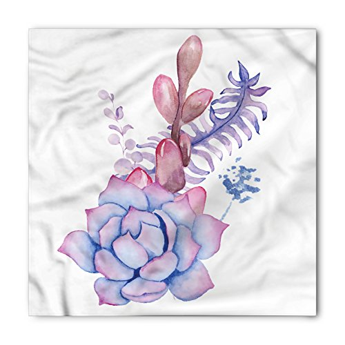 Exotic Wedding Bouquets (Succulent Bandana by Lunarable, Exotic Corsage Wedding Bouquet Design Bohemian Retro Nature Watercolors, Printed Unisex Bandana Head and Neck Tie Scarf Headband, 22 X 22 Inches, Lilac Pink Lavender)