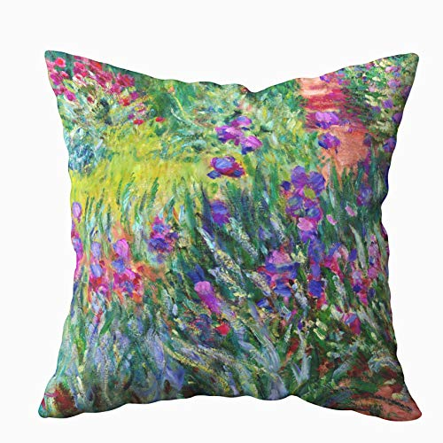 (Musesh the iris garden in giverny claude monet fine art Cushions Case Throw Pillow Cover For Sofa Home Decorative Pillowslip Gift Ideas Household Pillowcase Zippered Pillow Covers 20X20Inch)
