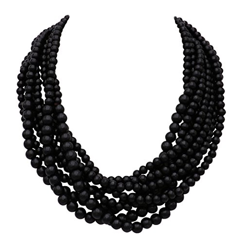 Rosemarie Collections Women's Wooden Bead Multi Strand Statement Bib Necklace (Black) ()