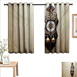 Superlucky Clock Waterproof Window Curtain an Antique Style Wood Carving Clock with Roman Numerals Hanging on The Wall Design 63x 45,Suitable for Bedroom Living Room Study, etc.