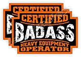 (2) Badass HEAVY EQUIPMENT OPERATOR Hard Hat Stickers | Bad Ass Motorcycle Helmet Decals | Bulldozer CAT Backhoe Crane Lift Truck Excavator Laborer Foreman Bossman Worker Construction Labels Badges