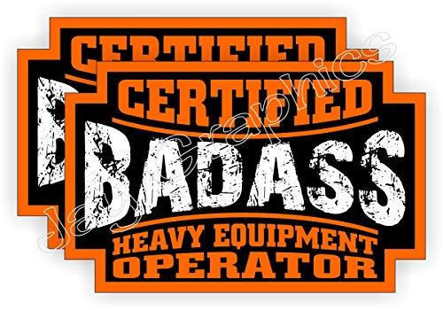 (2) Badass HEAVY EQUIPMENT OPERATOR Hard Hat Stickers | Bad Ass Motorcycle Helmet Decals | Bulldozer CAT Backhoe Crane Lift Truck Excavator Laborer Foreman Bossman Worker Construction Labels Badges
