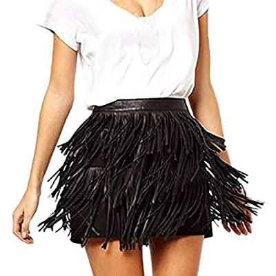 Kingspinner Women's Mini Skirt Summer Zipper Tassel High Waist Stage Party Skirt Holiday Clubwear Skirt