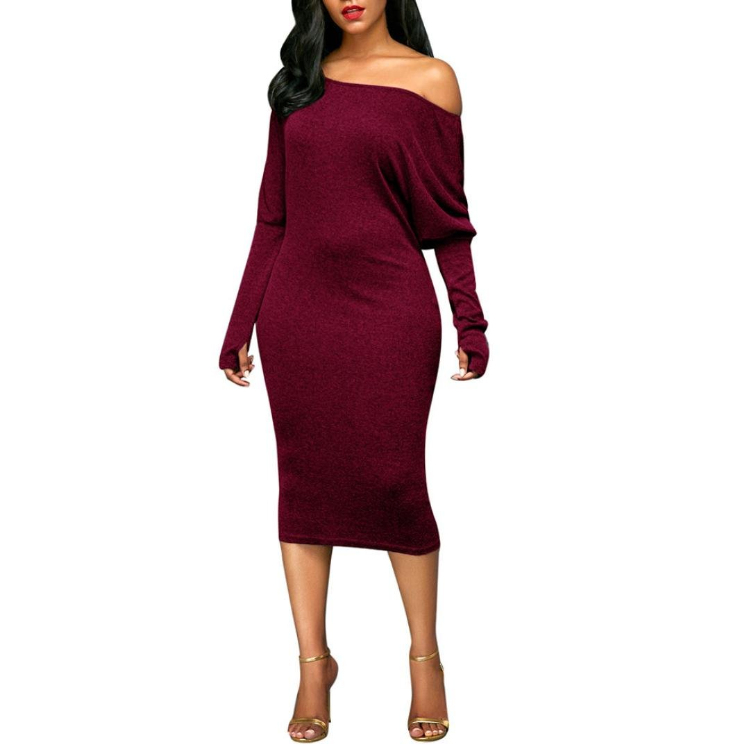 Womens Dress, Gillberry Womens Solid Long Sleeve Off The Shoulder Dress Evening Party Dress (S, Wine red)