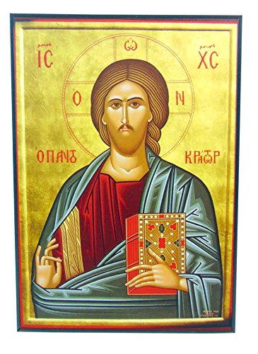 (Shomali Jesus Christ The Teacher Pantokrator Orthodox Wooden Byzantine Icon Replica)