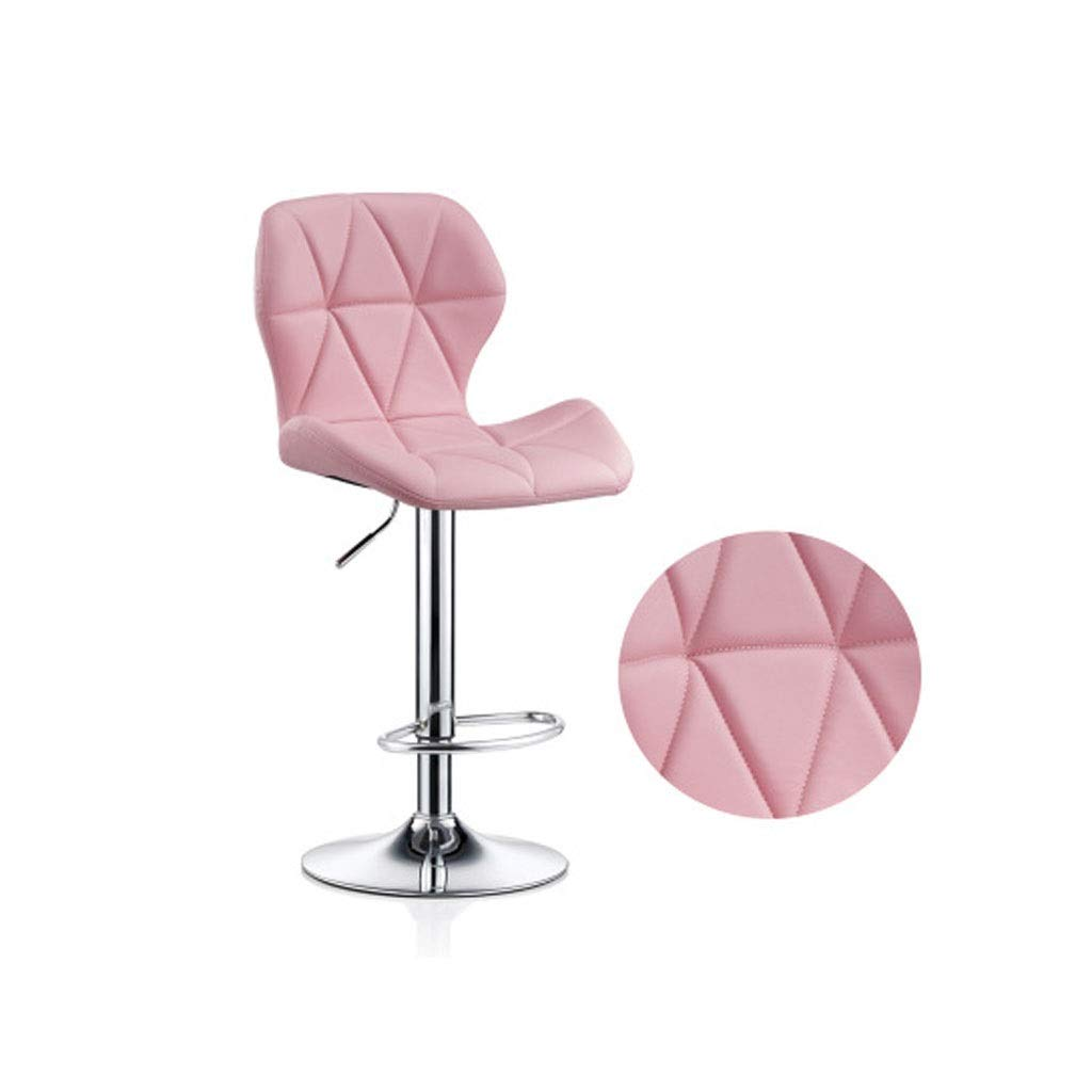 VAIY Kitchen Pub Stools, Adjustable 60-80cm Backless Swivel Bar Chairs Counter Height Bar Stools (Color : Pink) by VAIY