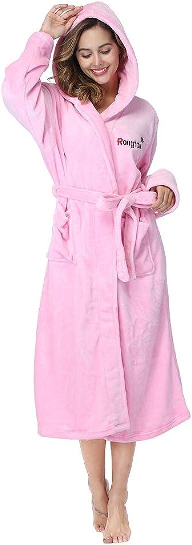 RONGTAI Hooded Robe for Women Plush Fleece Soft Warm Long Bathrobe with Hood