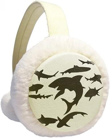 Blue Ocean Black Shark Biology Winter Earmuffs Ear Warmers Faux Fur Foldable Plush Outdoor Gift