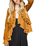 HaoDuoYi Womens Boyfriend Quilted Lightweight Ruffle Layered Open Front Jacket