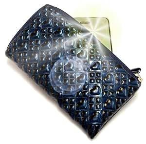 """""""Amor"""" Azul, Lujosa billetera-sostenedor acolchado con cierre, acabado brillante para Sharp 1810C. Funda / Estuche en relieve único con correa para teléfonos móviles."""