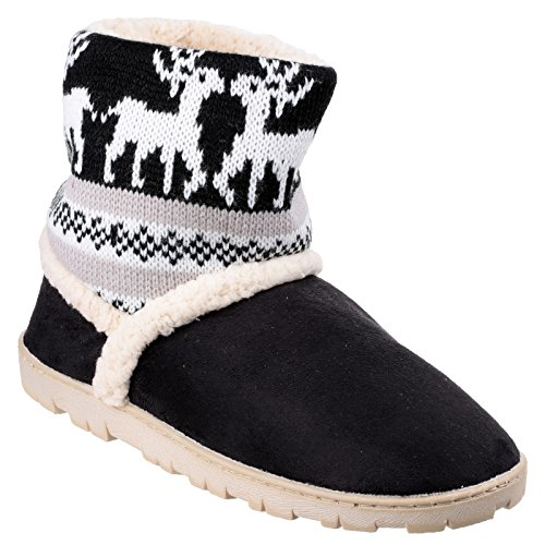 Womens Knitted Denmark Bootie Textile Ladies Black Slippers Divaz Winter gAadg