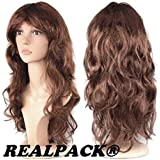 LONG CURLY WOMENS SEXY FANCY DRESS WIGS (REALPACK®) COSPLAY COSTUME LADIES FULL WAVY PARTY (50cm length) (BROWN)