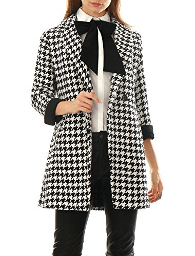 Allegra K Women Houndstooth Double Breasted Long Wool Blended Coat Black L
