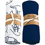 Oliver & Rain Organic Muslin Swaddle Sampler, 2-pack Newborns - Solid Navy Dog Print