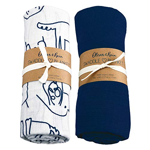 Oliver & Rain Baby Swaddle Sampler - 2-Pack Newborn 100% Organic Cotton Muslin Swaddle Blankets in Solid Navy and Navy Dog Print