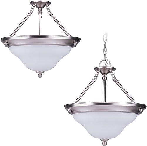 Sea Gull Lighting 66062-962 Sussex Three-Light Pendant, Brushed Nickel Finish with Satin White Glass