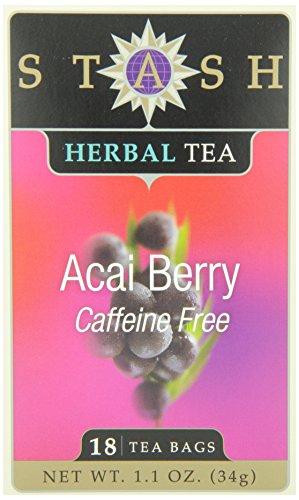 Stash Tea Acai Berry té de hierbas, 18 bolsitas de té de cuenta en papel de aluminio (paquete de 6)