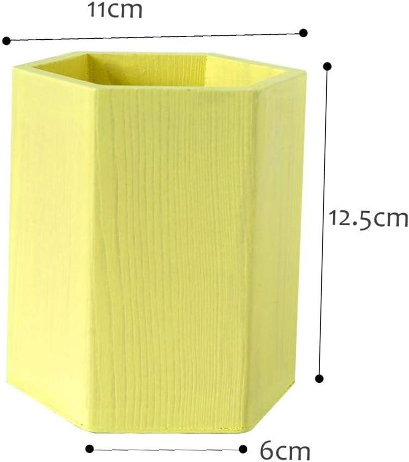 Porta-penne in Legno da Decorare Forma Geometrica Portapenne da Scrivania Portaoggetti Organizer Contenitore per Cancelleria Esagono giallo