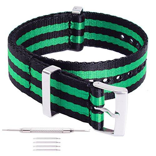 Ritche 20mm Black Green Nato Straps Replacement Women Men Timex weekender Daniel Wellington Watch Bands