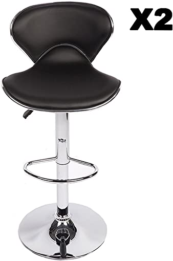 Set of 2 Adjustable Height Swivel Bar Stools w Base Counter Height Stools