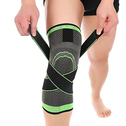 (ASOONYUM Knee Sleeve Green L 3D Weaving Knee Brace Breathable Support for Running, Jogging, Sports, Joint Pain Relief, Arthritis and Injury Recovery, Single Wrap, Large)