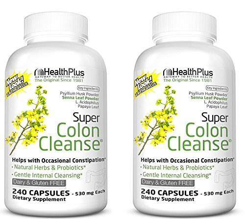 Health Plus Super Colon Cleanse 240 Capsules (2 Pack) by Health Plus