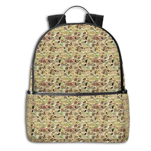 College Backpacks for Women Girls,Monochrome Swirly Entangled Lines On Mottled Earth Tone Background Retro Artwork,Casual Hiking Travel Daypack