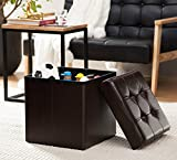 "Ellington Home Foldable Tufted Leather Storage Ottoman Cube Foot Rest Stool/Seat - 15"" x 15"" (Espresso)"