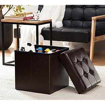 "Ellington Home Foldable Tufted Faux Leather Storage Ottoman Square Cube Foot Rest Stool/Seat - 15"" x 15"" (Espresso)"
