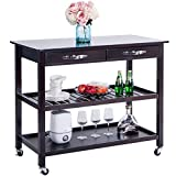 Harper&Bright Designs Home Kitchen Island Storage Cart with Wheels Drawers & Shelves, Espresso