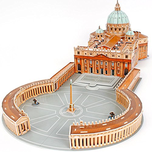 CubicFun 3D Italy Puzzles Cathedral Architecture Rome Building Church Model Kits Toys for Adults, St. Peter's Basilica, 144 Pieces -