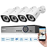 incoSKY Security Camera System 8CH 1080N 5-IN-1 DVR (TVI/CVI/AHD/Analog/ONVIF) and 4 x 1080P 3000TVL Night Vision IP Cameras Waterproof IP66 P2P for Home Office Outdoor Monitoring Surveillance A4C