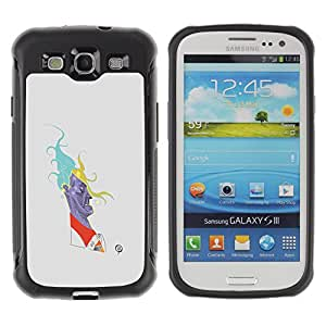 WAWU Rugged Armor Slim Protection Case Cover Shell -- painting caricature cartoon minimalist man -- Samsung Galaxy S3 I9300
