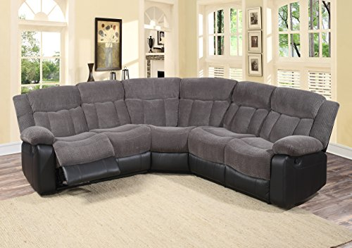 Microfiber Sectional Living Room (U.S. Livings 3-Piece Grey Ultra Fine Fabric Modern Reclining Sectional Living Room Sofa set)