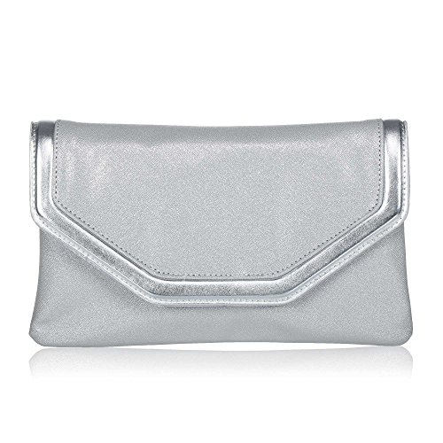 (Classic PU Leather Evening Clutch,WALLYN'S Party Purse Evening Bag With Chain Strap(Silver))