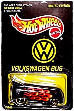 (Hot Wheels - Limited Edition - Volkswagen Bus - Black with orange/yellow flame graphics)