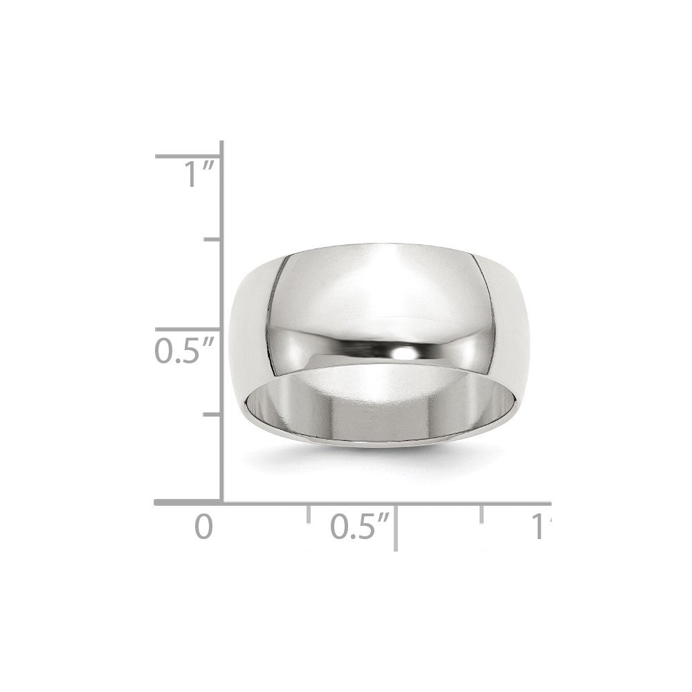 JewelrySuperMart Collection Sterling Silver 9mm Plain Half-Round Classic Wedding Band
