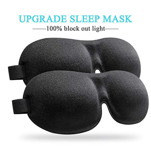 Sleep Mask (2 Pack), Upgraded Deeper 3D Contoured Eye Mask for Sleeping, Travel, Nap, Shift Work, No Pressure Light Blocking Eyeshade Night Blindfold with Adjustable Strap for Man, Women, Black
