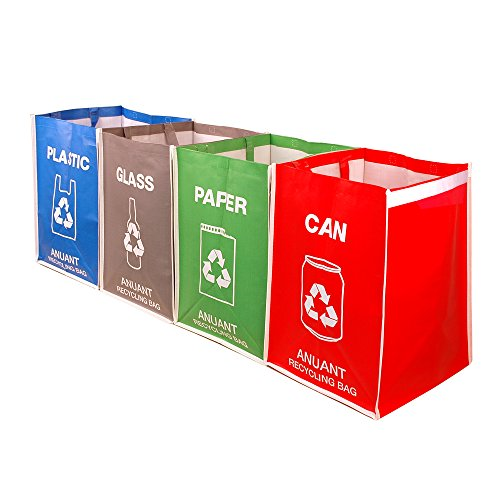 Separate Recycling Waste Bin Bags for Kitchen Office in Home - Recycle Garbage Trash Sorting Bins Organizer Waterproof Baskets Compartment Container Big Size 4 Bags Set by ANUANT (Image #1)